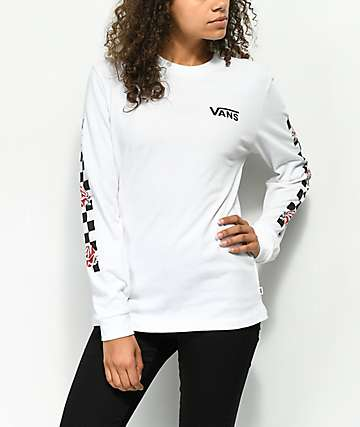 Vans Patchwork Rose camiseta de manga larga blanca