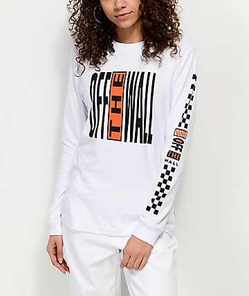 Vans Pinnacle camiseta de manga larga en blanco y naranja