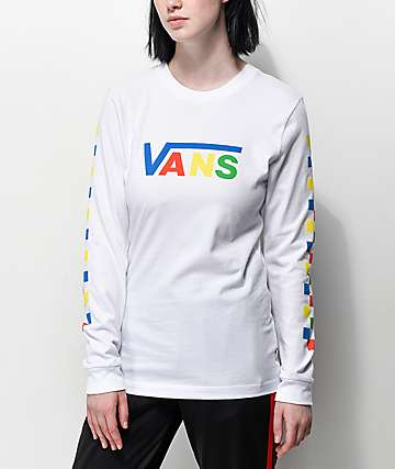 ee71a0fb42f1 Vans Primary Checkerboard White Long Sleeve T-Shirt