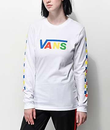 3253fb9e7e Vans Primary Checkerboard White Long Sleeve T-Shirt