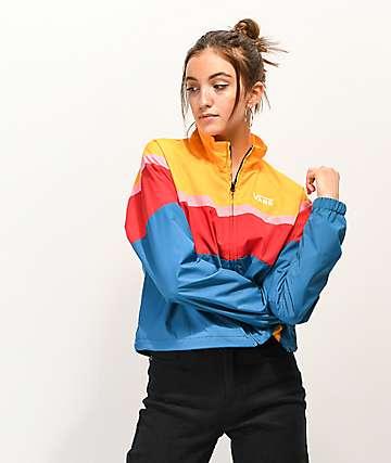 Vans Primary Colorblock Crop Windbreaker Jacket