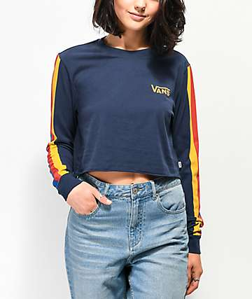 Vans Rainee Navy & Stripe Long Sleeve Crop T-Shirt