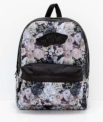 Vans Realm 22L mochila negra floral