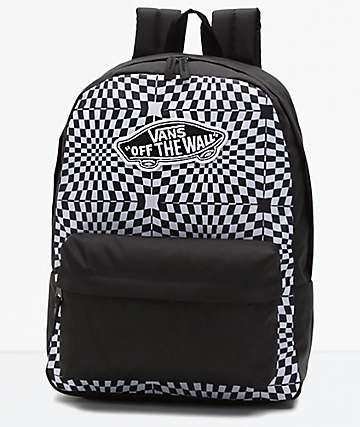 Vans Realm Black Warp Check Backpack