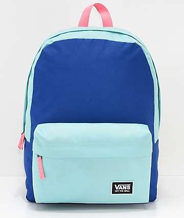 Vans Realm Classic Aqua, Blue & Pink Backpack