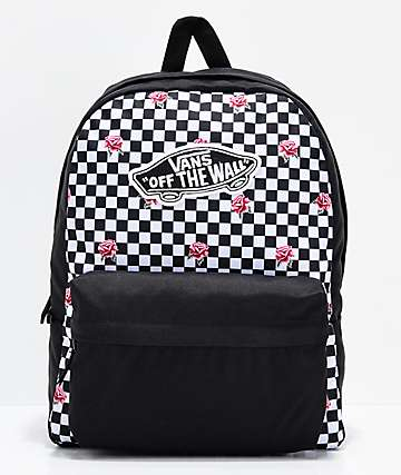 401bacaf4e3c92 Vans Realm Rose Checkerboard Backpack