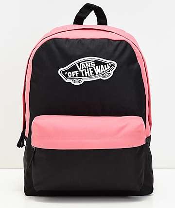 Vans Realm mochila negra y rosa
