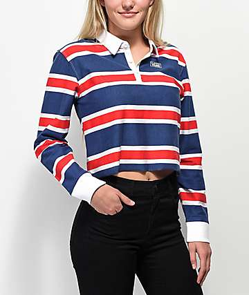Vans Red, White & Blue Striped Crop Long Sleeve Polo Shirt