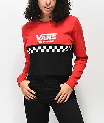 Vans Red & Black Colorblock Crop Long Sleeve T-Shirt