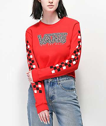 Vans Red Mix Checkerboard Long Sleeve Crop T-Shirt