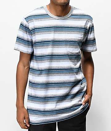 Vans Redmond Blue, White & Grey Striped Knit Pocket T-Shirt