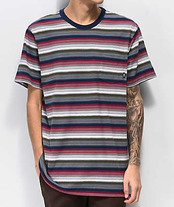 Vans Redmond Red, Grey & White Striped Knit T-Shirt