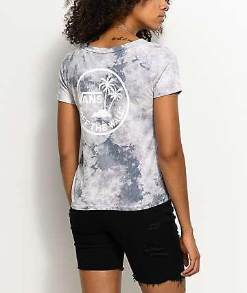 Vans Ridge Skim Circle Palm camiseta con efecto tie dye en gris