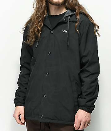 Vans Riley Black Reflective Hooded Coaches Jacket