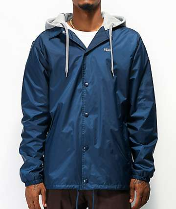 Vans Riley Navy Blue Hooded Coaches Jacket