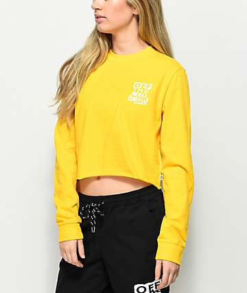 Vans Ripped OTW Lemon Long Sleeve Crop T-Shirt