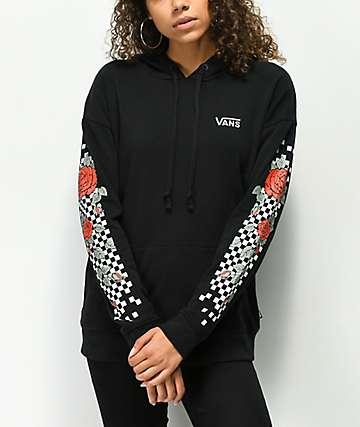 Vans Rose Checkboard Sleeve Black Hoodie