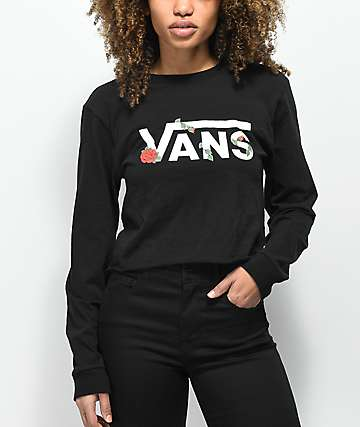 Vans Rose Checker Black Long Sleeve Crop T-Shirt