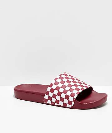 Vans Rumba Red & White Checkerboard Slide Sandals