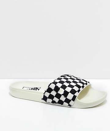 Vans Sherpa Checkerboard Slide-On Sandals