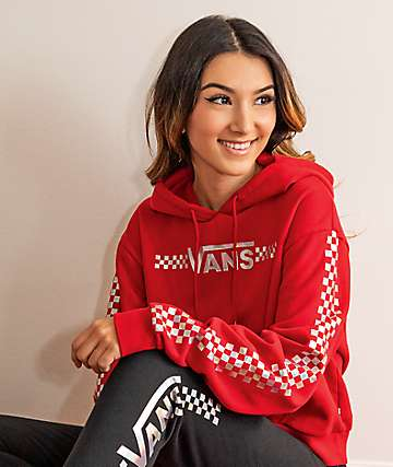 Vans Shine It Chili Red Crop Hoodie