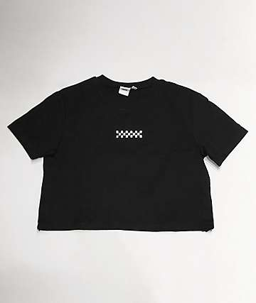 Vans Side Split Black Crop T-Shirt