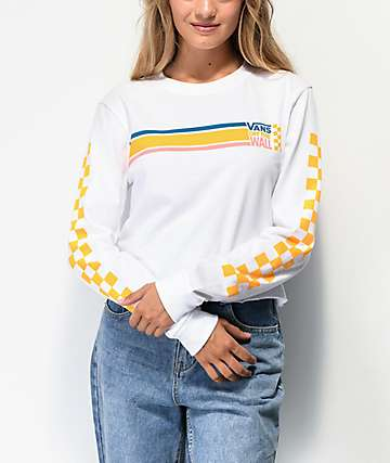Vans Sideline White Long Sleeve Crop T-Shirt