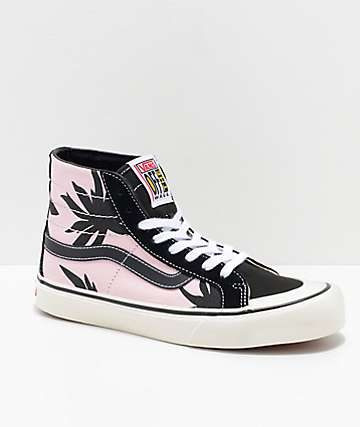 Vans Sk8-Hi 138 Summer Leaf Decon Pink & Black Skate Shoes
