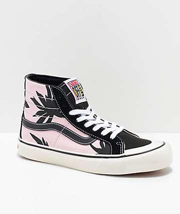 Vans Sk8-Hi 138 Summer Leaf Decon Pink & Black Skate Shoes