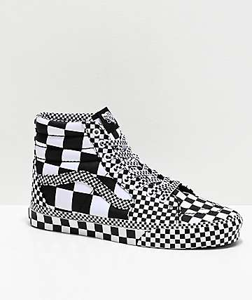 Vans Sk8-Hi All Over Checkerboard Black & White Skate Shoes