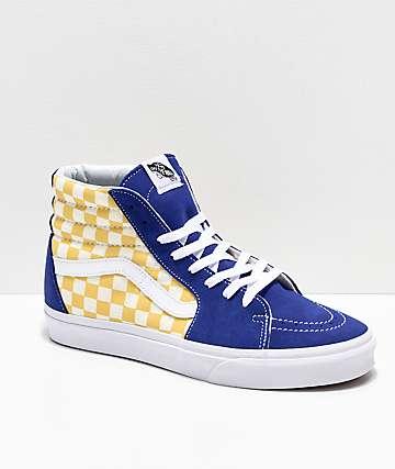 Vans Sk8-Hi BMX zapatos de skate a cuadros en azul y amarillo