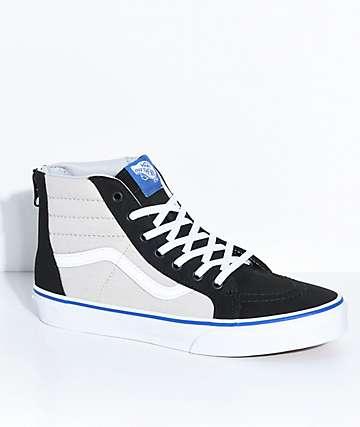 Vans Sk8-Hi Black & Micro Chip Zippered Skate Shoes
