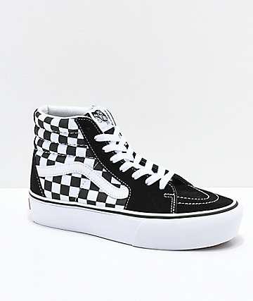 Vans Sk8-Hi Black & White Checkerboard Platform Shoes