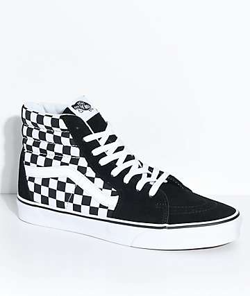 006924fb8b Vans Sk8-Hi Black   White Checkered Skate Shoes
