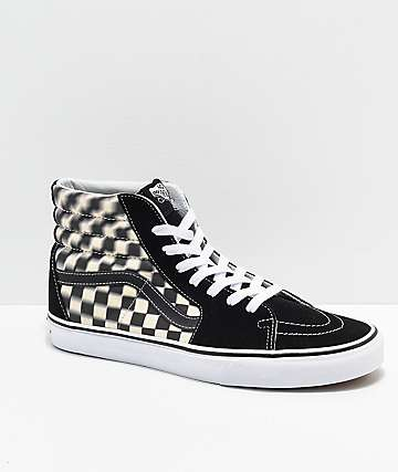 Vans Sk8-Hi Blur Black & White Checkerboard Skate Shoes