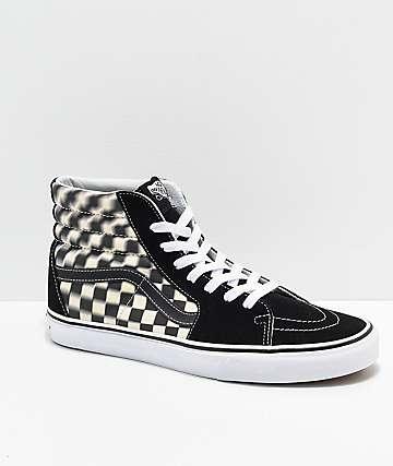 d738559dcc ... Green Camo Skate Shoes.  79.95. Vans Sk8-Hi Blur Black   White  Checkerboard Skate Shoes