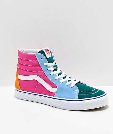 2cf36142702 Vans Sk8-Hi Bright Color Blocked Skate Shoes