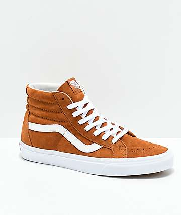 Vans Sk8-Hi Brown   White Pig Suede Skate Shoes 60fe28dad