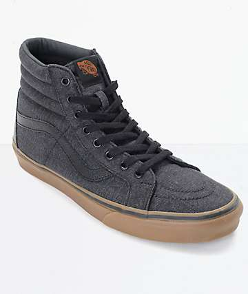 Vans Sk8-Hi CL Black Denim   Gum Skate Shoes 24900a882