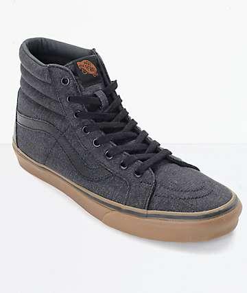 Vans Sk8Hi CL Black Denim  Gum Skate Shoes