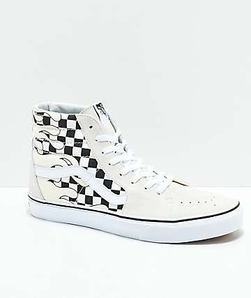 9057dc8452 Vans Sk8-Hi Checkerboard Flame White Skate Shoes