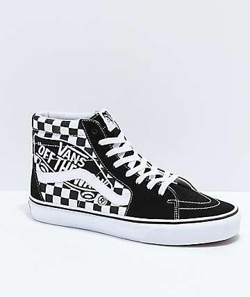 7be67dac58 Vans Sk8-Hi Checkerboard Patch Black   White Skate Shoes