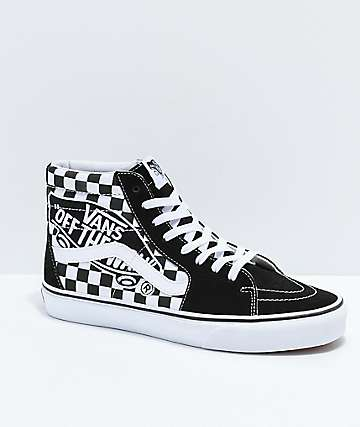 7be67dac58 Vans Sk8-Hi Checkerboard Patch Black   White Skate Shoes