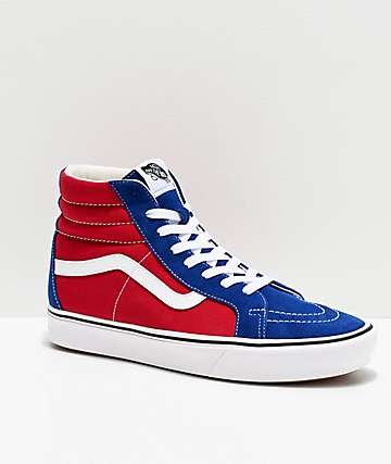 Vans Sk8-Hi ComfyCush Red Chili & Blue Skate Shoes