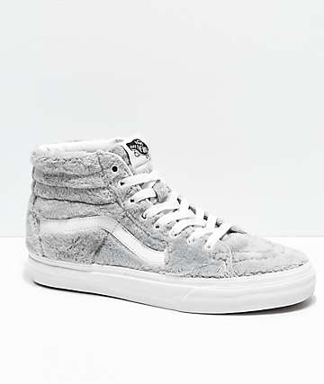 Vans Sk8-Hi Drizzle & White Sherpa Skate Shoes