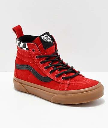 Vans Sk8-Hi MTE zapatos rojos y de cuadros