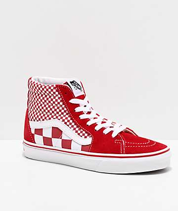 Vans Sk8-Hi Mix Checker Chili Pepper & True White Skate Shoes