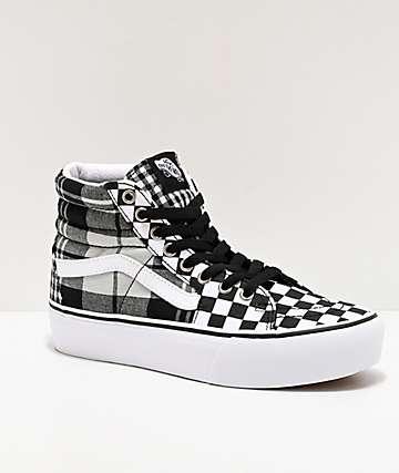 Vans Sk8-Hi Plaid Checkerboard White, Grey & Black Platform Shoes