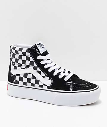 Vans Sk8-Hi Platform 2.0 White & Checkerboard Shoes