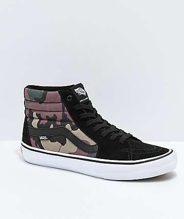 Vans Sk8-Hi Pro Black, White & Camo Skate Shoes